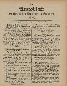Amtsblatt der Königlichen Preußischen Regierung zu Bromberg, 11. November 1887, Nr. 45