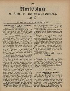 Amtsblatt der Königlichen Preußischen Regierung zu Bromberg, 25. November 1887, Nr. 47