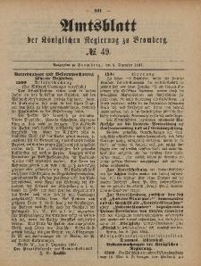 Amtsblatt der Königlichen Preußischen Regierung zu Bromberg, 9. Dezember 1887, Nr. 49