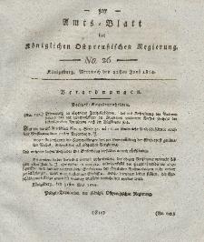 Amts-Blatt der Königlichen Preußischen Regierung zu Königsberg, Mittwoch, 22. Juni 1814, Nr. 26