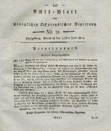 Amts-Blatt der Königlichen Preußischen Regierung zu Königsberg, Mittwoch, 27. Juli 1814, Nr. 31