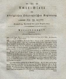 Amts-Blatt der Königlichen Preußischen Regierung zu Königsberg, Mittwoch, 24. August 1814, Nr. 35