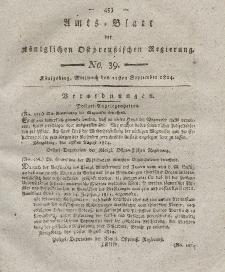 Amts-Blatt der Königlichen Preußischen Regierung zu Königsberg, Mittwoch, 21. September 1814, Nr. 39
