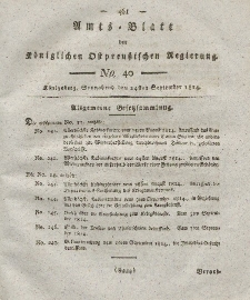 Amts-Blatt der Königlichen Preußischen Regierung zu Königsberg, Mittwoch, 24. September 1814, Nr. 40