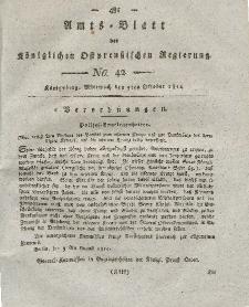 Amts-Blatt der Königlichen Preußischen Regierung zu Königsberg, Mittwoch, 5. Oktober 1814, Nr. 42