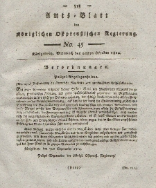 Amts-Blatt der Königlichen Preußischen Regierung zu Königsberg, Mittwoch, 26. Oktober 1814, Nr. 45