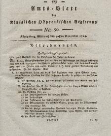 Amts-Blatt der Königlichen Preußischen Regierung zu Königsberg, Mittwoch, 30. November 1814, Nr. 50