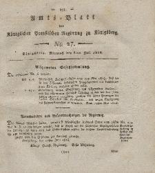 Amts-Blatt der Königlichen Preußischen Regierung zu Königsberg, Mittwoch, 8. Juli 1818, Nr. 27
