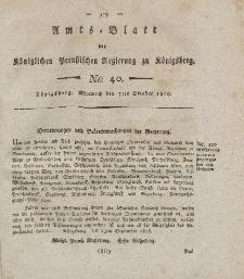 Amts-Blatt der Königlichen Preußischen Regierung zu Königsberg, Mittwoch, 7. Oktober 1818, Nr. 40