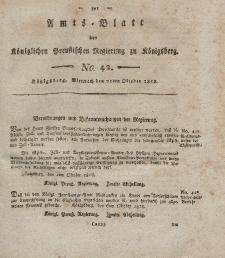 Amts-Blatt der Königlichen Preußischen Regierung zu Königsberg, Mittwoch, 21. Oktober 1818, Nr. 42
