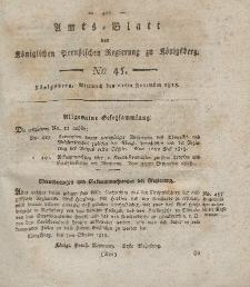 Amts-Blatt der Königlichen Preußischen Regierung zu Königsberg, Mittwoch, 11. November 1818, Nr. 45