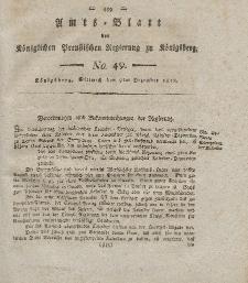 Amts-Blatt der Königlichen Preußischen Regierung zu Königsberg, Mittwoch, 9. Dezember 1818, Nr. 49