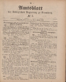 Amtsblatt der Königlichen Preußischen Regierung zu Bromberg, 2. Februar 1883, Nr. 5
