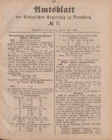 Amtsblatt der Königlichen Preußischen Regierung zu Bromberg, 27. April 1883, Nr. 17