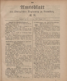 Amtsblatt der Königlichen Preußischen Regierung zu Bromberg, 3. August 1883, Nr. 31