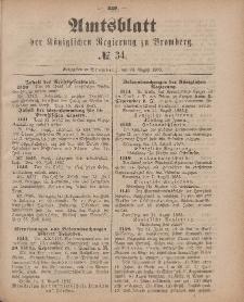Amtsblatt der Königlichen Preußischen Regierung zu Bromberg, 24. August 1883, Nr. 34