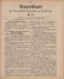 Amtsblatt der Königlichen Preußischen Regierung zu Bromberg, 31. August 1883, Nr. 35