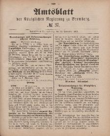 Amtsblatt der Königlichen Preußischen Regierung zu Bromberg, 14. September 1883, Nr. 37