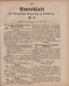 Amtsblatt der Königlichen Preußischen Regierung zu Bromberg, 5. Oktober 1883, Nr. 40