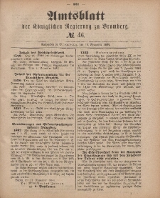 Amtsblatt der Königlichen Preußischen Regierung zu Bromberg, 16. November 1883, Nr. 46