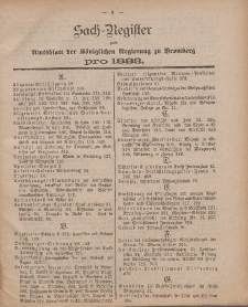 Amtsblatt der Königlichen Preußischen Regierung zu Bromberg, 1883 (Sach-Register)