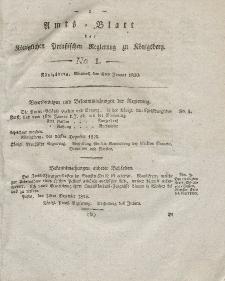 Amts-Blatt der Königlichen Preußischen Regierung zu Königsberg, Mittwoch, 6. Januar 1830, Nr. 1