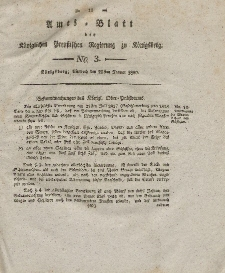 Amts-Blatt der Königlichen Preußischen Regierung zu Königsberg, Mittwoch, 20. Januar 1830, Nr. 3