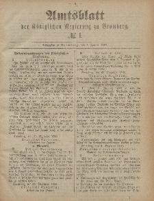 Amtsblatt der Königlichen Preußischen Regierung zu Bromberg, 4. Januar 1884, Nr. 1