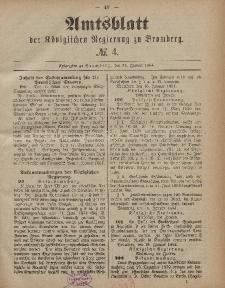 Amtsblatt der Königlichen Preußischen Regierung zu Bromberg, 25. Januar 1884, Nr. 4