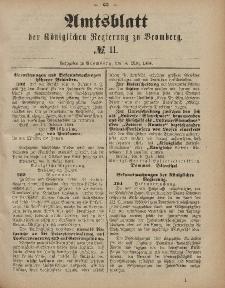 Amtsblatt der Königlichen Preußischen Regierung zu Bromberg, 14. März 1884, Nr. 11