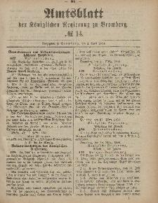 Amtsblatt der Königlichen Preußischen Regierung zu Bromberg, 4. April 1884, Nr. 14