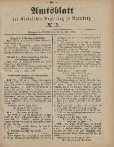 Amtsblatt der Königlichen Preußischen Regierung zu Bromberg, 11. April 1884, Nr. 15