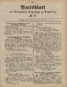 Amtsblatt der Königlichen Preußischen Regierung zu Bromberg, 23. Mai 1884, Nr. 21