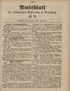 Amtsblatt der Königlichen Preußischen Regierung zu Bromberg, 27. Juni 1884, Nr. 26