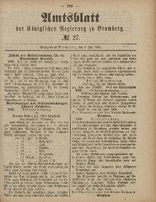 Amtsblatt der Königlichen Preußischen Regierung zu Bromberg, 4. Juli 1884, Nr. 27