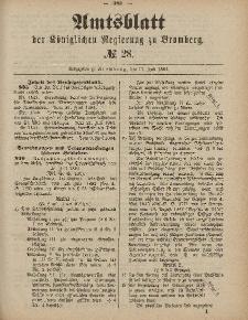 Amtsblatt der Königlichen Preußischen Regierung zu Bromberg, 11. Juli 1884, Nr. 28