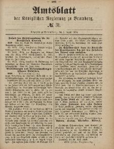 Amtsblatt der Königlichen Preußischen Regierung zu Bromberg, 1. August 1884, Nr. 31