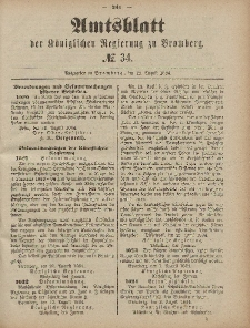 Amtsblatt der Königlichen Preußischen Regierung zu Bromberg, 22. August 1884, Nr. 34