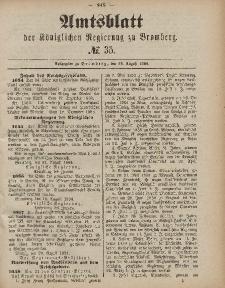 Amtsblatt der Königlichen Preußischen Regierung zu Bromberg, 29. August 1884, Nr. 35