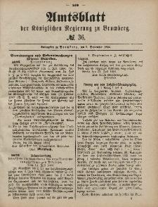 Amtsblatt der Königlichen Preußischen Regierung zu Bromberg, 5. September 1884, Nr. 36