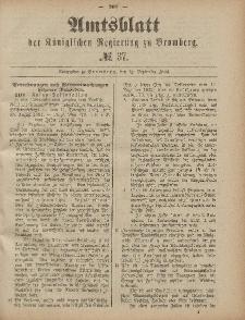 Amtsblatt der Königlichen Preußischen Regierung zu Bromberg, 12. September 1884, Nr. 37