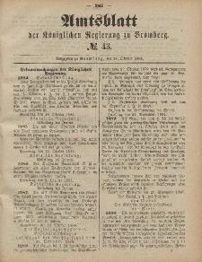 Amtsblatt der Königlichen Preußischen Regierung zu Bromberg, 24. Oktober 1884, Nr. 43