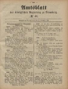 Amtsblatt der Königlichen Preußischen Regierung zu Bromberg, 14. November 1884, Nr. 46