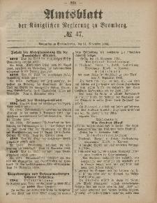 Amtsblatt der Königlichen Preußischen Regierung zu Bromberg, 21. November 1884, Nr. 47