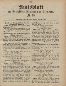 Amtsblatt der Königlichen Preußischen Regierung zu Bromberg, 28. November 1884, Nr. 48