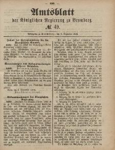Amtsblatt der Königlichen Preußischen Regierung zu Bromberg, 5. Dezember 1884, Nr. 49