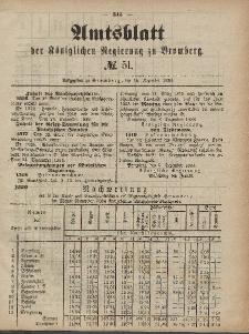 Amtsblatt der Königlichen Preußischen Regierung zu Bromberg, 19. Dezember 1884, Nr. 51