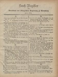 Amtsblatt der Königlichen Preußischen Regierung zu Bromberg, 1884 (Sach-Register)