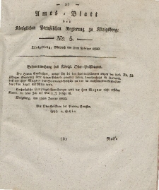 Amts-Blatt der Königlichen Preußischen Regierung zu Königsberg, Mittwoch, 3. Februar 1830, Nr. 5