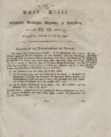 Amts-Blatt der Königlichen Preußischen Regierung zu Königsberg, Mittwoch, 5. Mai 1830, Nr. 18